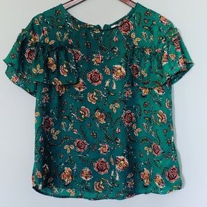 Xhilaration Forest Green Floral Ruffle Sleeve